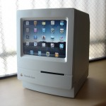 Custom iPad stand out of old Macintosh machine