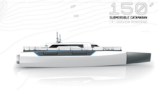 Alex Marzo Submerge concept catamaran Side view 544px