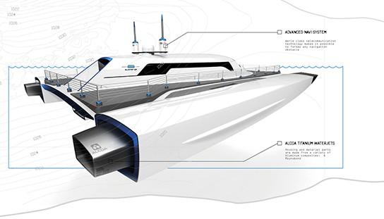 Alex Marzo Submerge concept catamaran Rear-angled view 544px