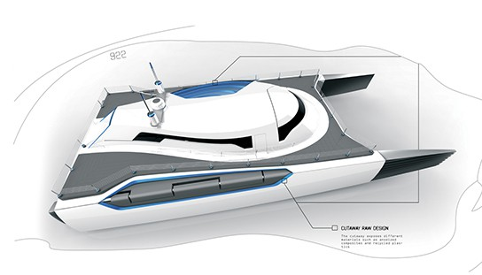 Alex Marzo Submerge concept catamaran Top-angled view 544px