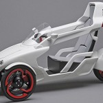 this 1.5 scale model is a futuristic electric concept trike