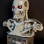 Terminator T-800 bust constructed out of Lego bricks