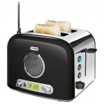 ultimate breakfast combo: slices of toasts and radio