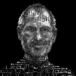 Charis Tsevis Illustration - Steve Jobs (black) 800x844px