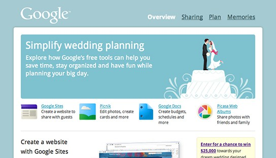 Google for Weddings screenshot 544x311px