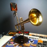 old trumpet turned into a power-free iPhone amplifier