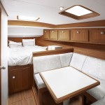 Firmship FS 42 - cabin with treated teak carpentry featuring in Corian imitation leather upholstered ceiling 900x600px
