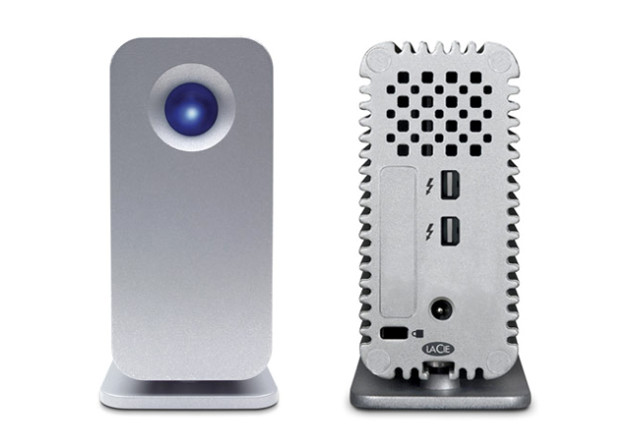 LaCie Little Big Disk Thunderbolt - note the lightning symbols next to the ports 640x450px