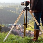breakaway from the traditional metal tripods with this wood item