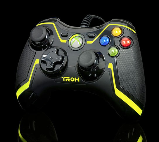 PDP Yellow TRON Xbox 360 Controller 544x488px