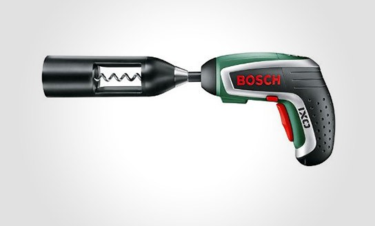 Bosch IXO Vino Cordless Screwdriver with Corkscrew Attachment 544x328px