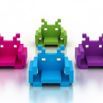 Space Invader Chair, arcade pixelated aliens turned into chairs