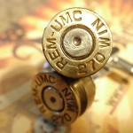 270 Premium Bullet Shell Cufflinks REM UMC 2-tone silver/gold
