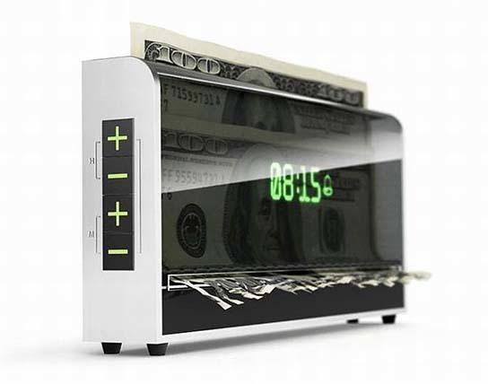Money Shredding Alarm Clock 544x428px