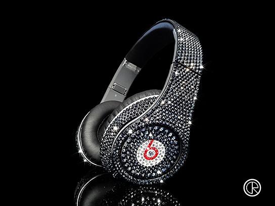 Crystal Rocked Dr Dre Beats Studio Headphones Swarovski Jet Hematite 544x408px