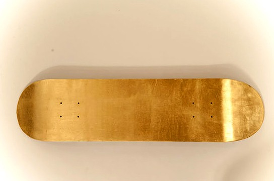 Miya Ando Steel Skateboard with 24k gold leaf 544x360px