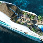 concept Tropical Island Paradise Superyacht has a volcano on it