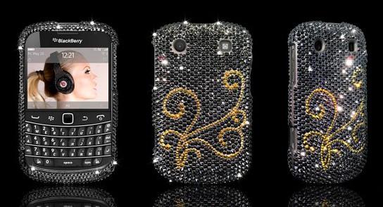 BlackBerry Bold 9900 Swarovski case - Jet Hematite with Gold Pattern 544x294px