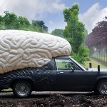 Olaf Mooji's Braincar – giant brain sculpture fused onto a car