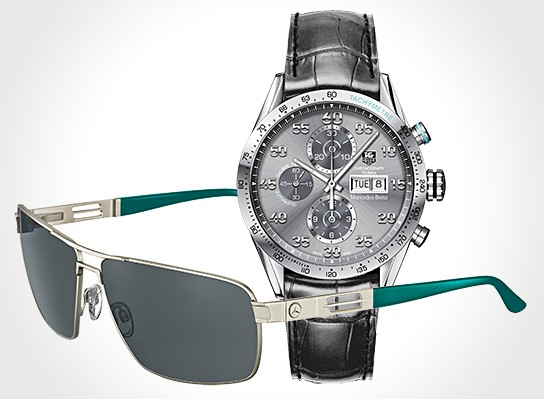 Mercedes-Benz TAG Heuer watch and Rodenstock Sunglasses 544x399px