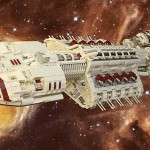 awesome Battlestar Galactica spaceship made out of LEGO