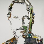 a portrait of Steve Jobs created from old MacBook Pro parts
