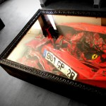 Crashed Ferrari Table – crashed Ferrari inside a coffee table