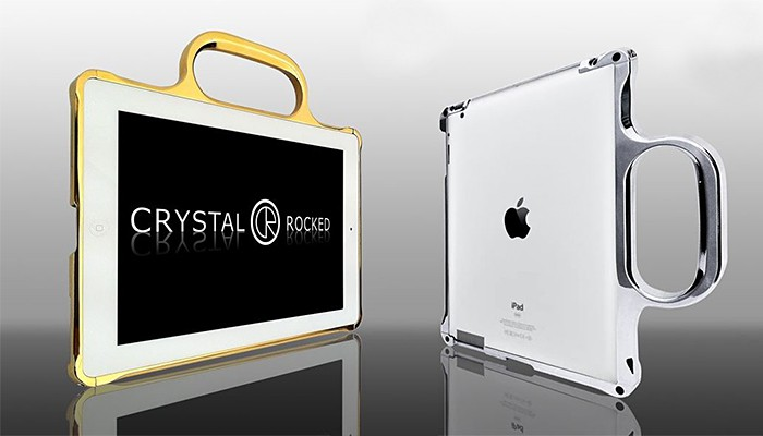 Crystal Rocked iPad 2 Bumper Gold and Chrome Plated 700x400px