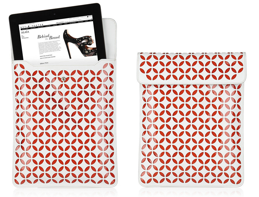 ALAÏA perforated leather iPad case