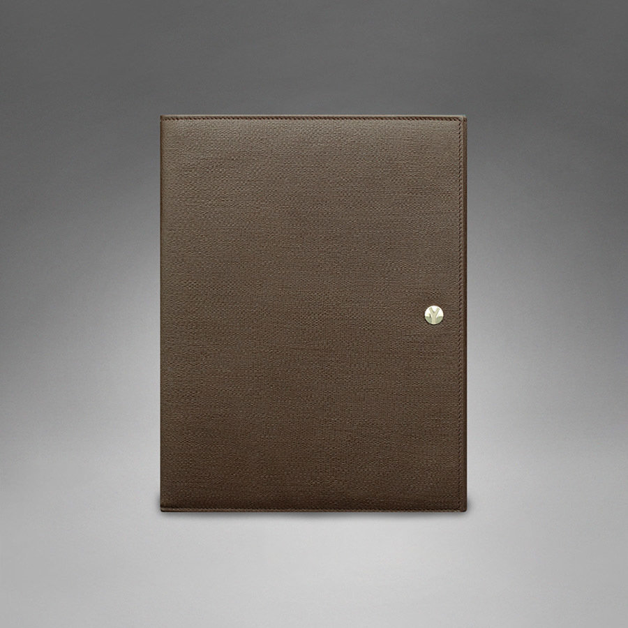 YSL YCON iPad Case in Brown Textured Leather
