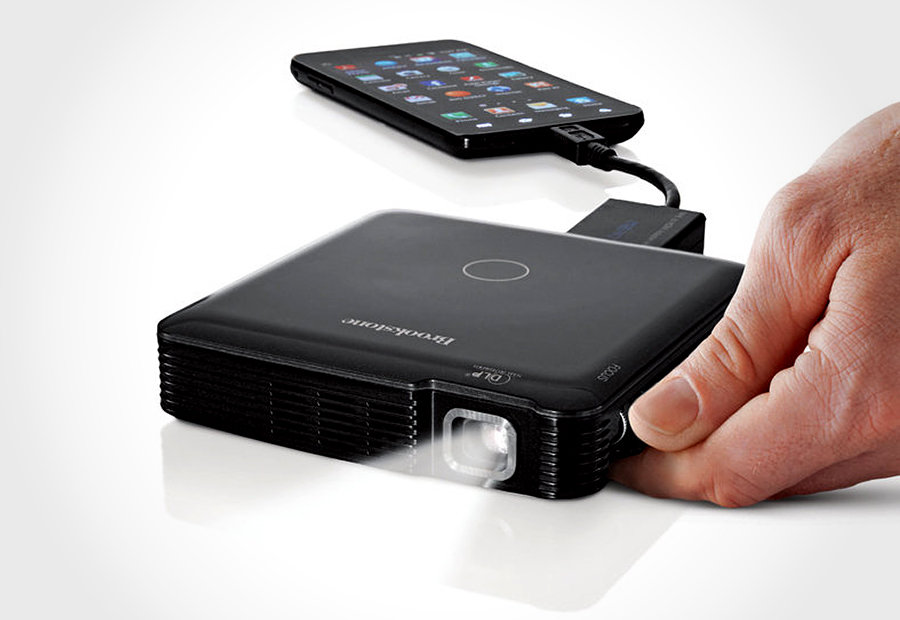 Brookstone hdmi pocket projector mikeshouts for Best portable projector for iphone