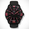 SKYWATCH Black IP Series 3-Hand Black & Neon Pink