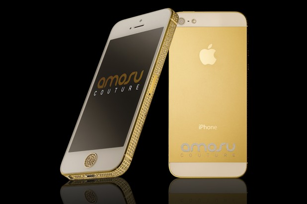 Gold Swarovski iPhone 5 by Amosu Couture