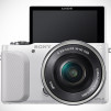 Sony NEX-3N Mirrorless Digital Camera - White Front with LCD