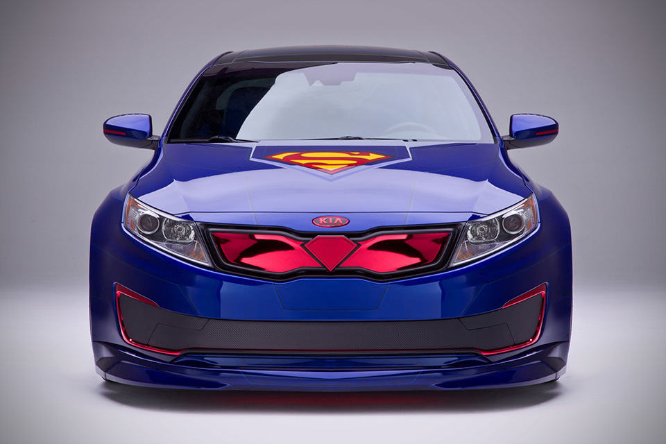 Superman KIA Optima Hybrid Sedan