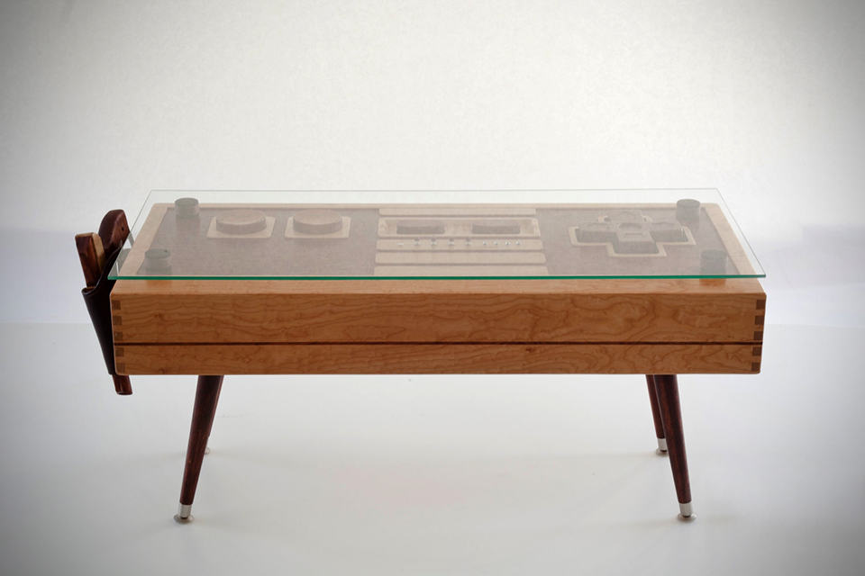 wooden nintendo nes controller coffee table - mikeshouts