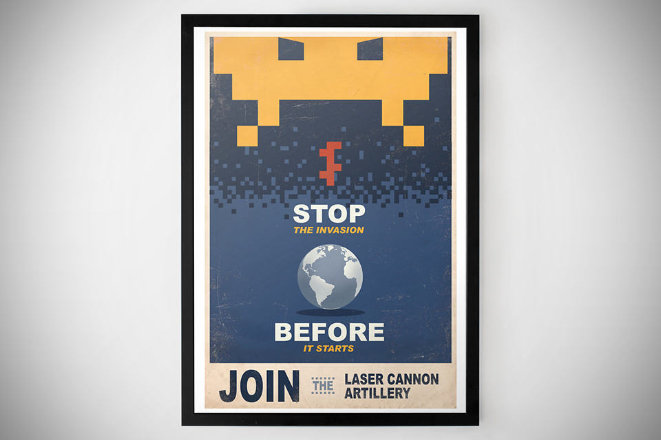 Space Invaders Propaganda Print Poster - Framed