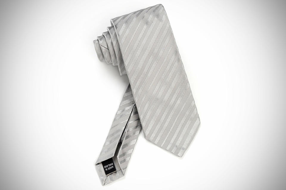 Dunhill Provenance Seven Fold Neckties - Light Grey Self Stripe