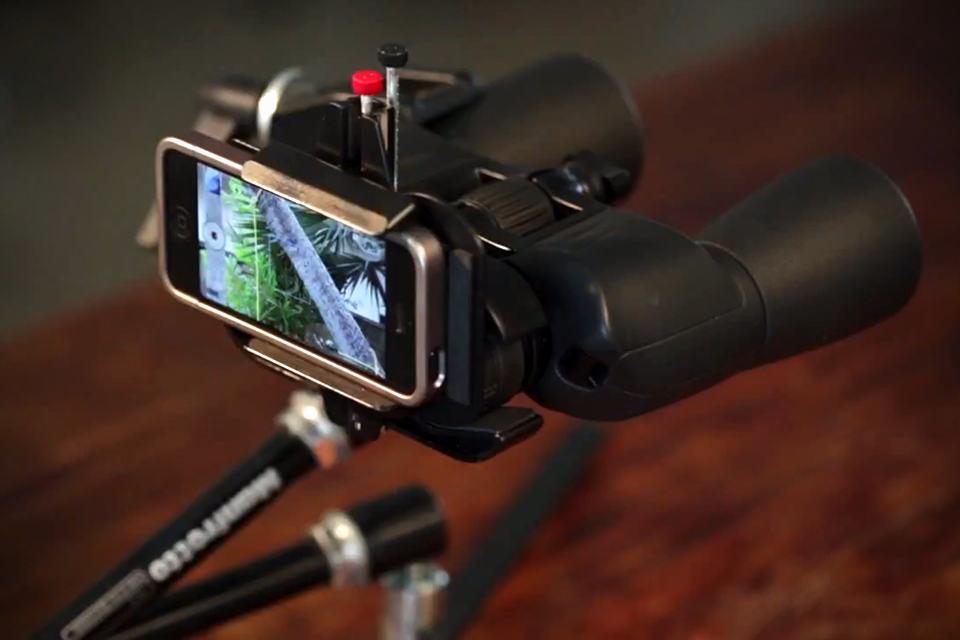 Snapzoom Universal Smartphone Scope Adapter with binoculars