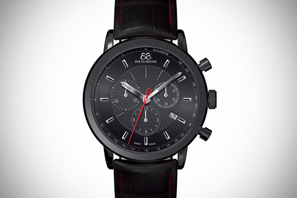 88 Rue Du Rhone Gents Black Leather Strap Watch