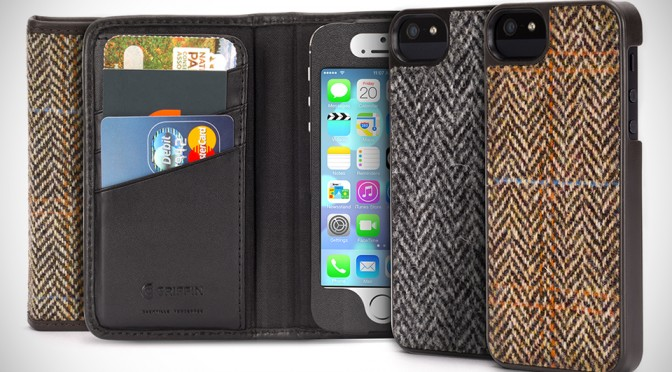 Harris Tweed Iphone Case Grey/black Herringbone Pattern New Taschen & Schutzhüllen