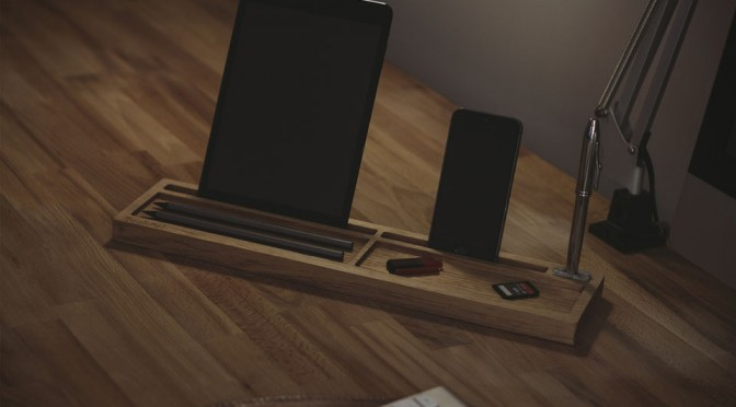 DeskPal One-Piece Wood Desk Tidy