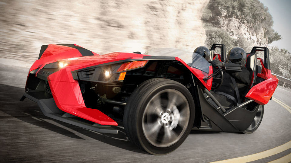 polaris new three wheel slingshot is actually a belt driven motorcycle mikeshouts. Black Bedroom Furniture Sets. Home Design Ideas