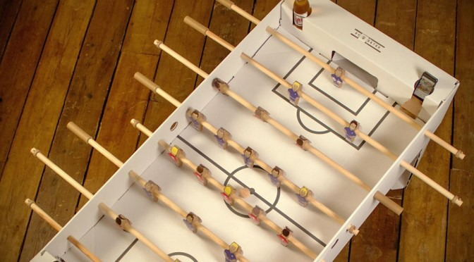 This Flat Pack Cardboard Foosball Table Lets You Bring The Game Anywhere