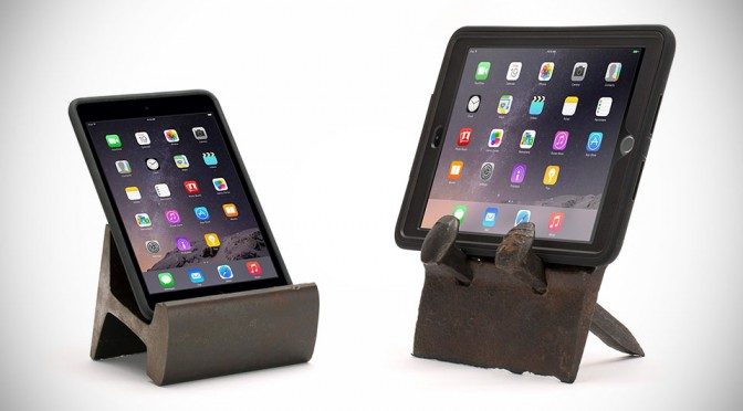 These Unique Tablet Stands Are Fashioned Out of Century Old Railroad Track