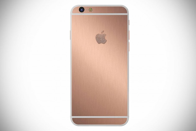 Gold iPhone by Hadoro Paris - Rose Gold Brush with Diamonds