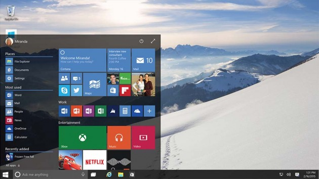 Microsoft Windows 10 Operating System - Startscreen
