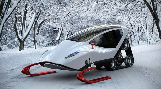 Snow Crawler Is A Concept Snowmobile That Keeps The Rider Shielded From The Elements