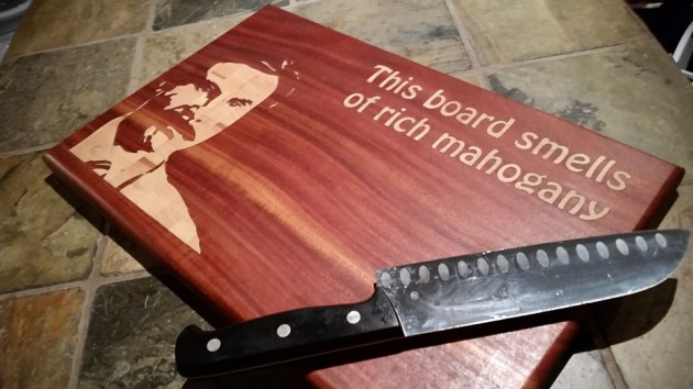 "Ron Burgundy ""This board smells of rich mahogany"" Cutting Board"