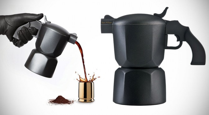 Noir Pistol-style Coffee Maker and Bullet Shell Espresso Cups